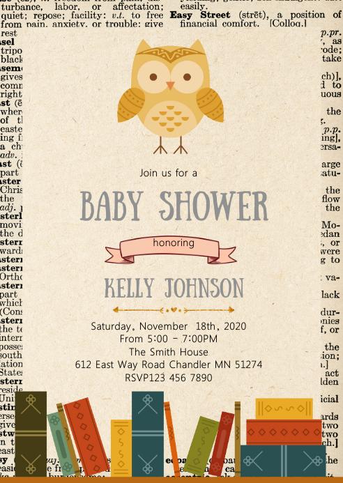 Book owl party invitation