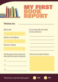 Book Report English Worksheet A4 template