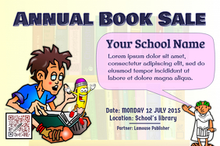 School poster - Book sale event - Cartoon style