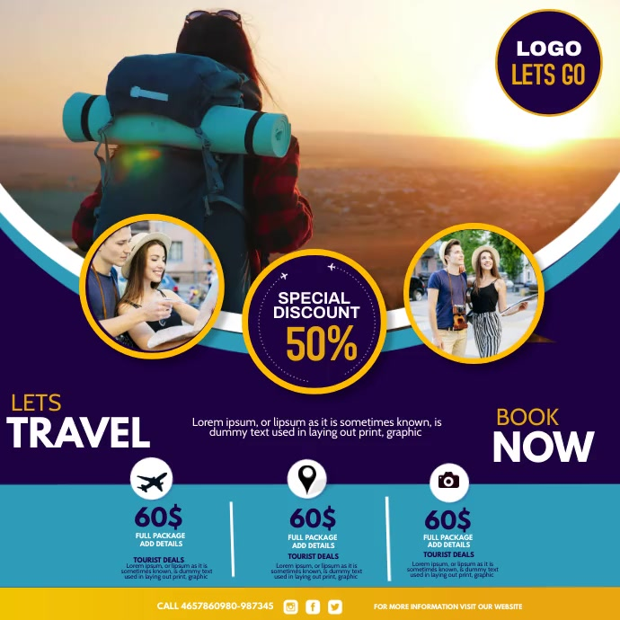 Booking add, tour and travel Persegi (1:1) template