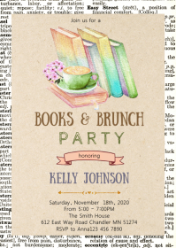 Books and brunch party invitation A6 template