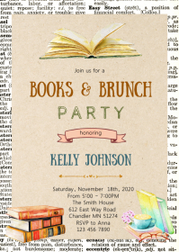 Books and brunch party invitation