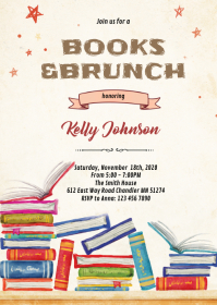 Books baby shower invitation A6 template