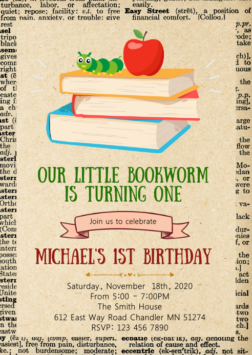 Bookworm birthday party invitation A6 template