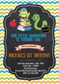 Bookworm birthday party invitation