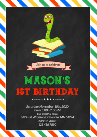 Bookworm birthday party invitation