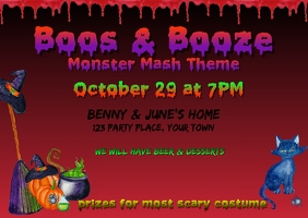 Boos & Booze Halloween Invitation Postcard template