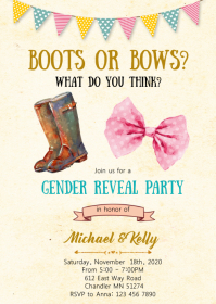 Boots or bows gender reveal party invitation A6 template