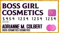 Boss girl cosmetics business card pink gold Kartu Bisnis template