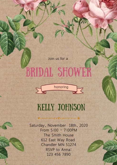Botanical bridal shower invitation