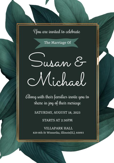 Botanical Wedding Invitation Card A5 template