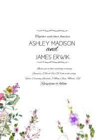 Botanical Wildflower Greenery Wedding Invitat A5 template