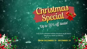 Bottle Green Christmas Sale Facebook Banner Video