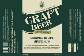 Bottle Green Craft Beer Label template
