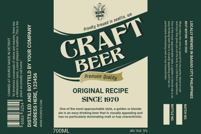 Bottle Green Craft Beer Label Etiket template