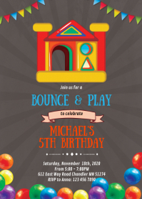 Bounce house birthday party invitation A6 template