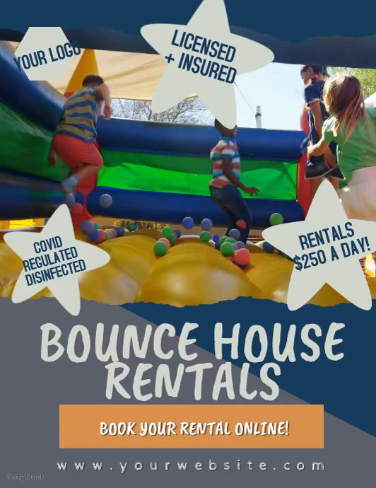 Bounce House Rental Video Flyer template