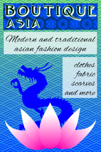 boutique asia - japanese patterns dragon and pink lotus flower