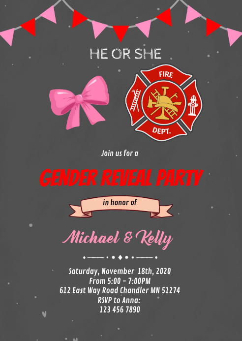 Bow or firefighter gender reveal invitation A6 template
