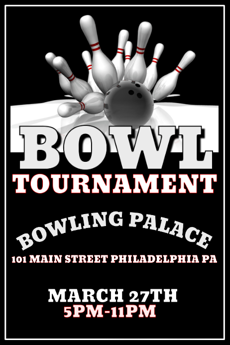 Bowl Tournament Poster template