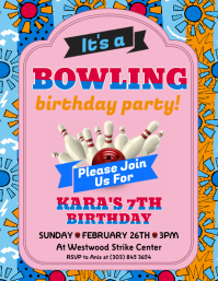 Bowling Birthday Party Flyer