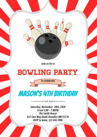 Bowling birthday party invitation A6 template
