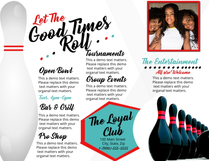 Bowling Trifold Brochure Flyer (US-Letter) template