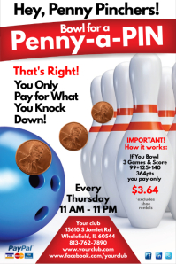 Customizable design templates for bowling party postermywall penny a pin flyer pronofoot35fo Images