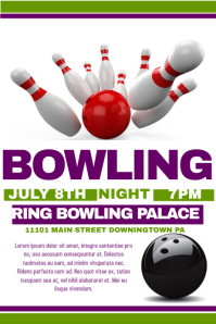 Customizable design templates for bowling party postermywall bowling flyer pronofoot35fo Images