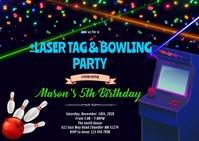 Bowling laser tag arcade invitation A6 template