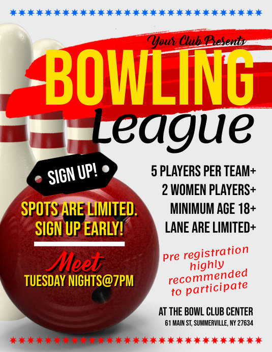 Bowling League Flyer Folheto (US Letter) template