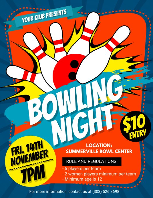Bowling Night Flyer Template Postermywall