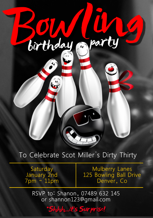 Bowling Party Poster A4 template
