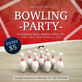 Bowling Party Square Video template