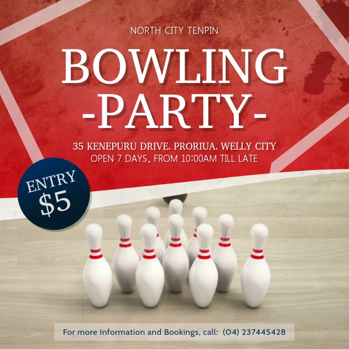 Bowling Party Square Video 方形(1:1) template