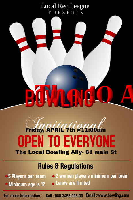 copy of bowling poster template