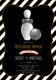 Bowling Rehearsal dinner theme invitation