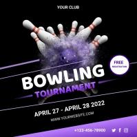 bowling tournament Publicação no Instagram template