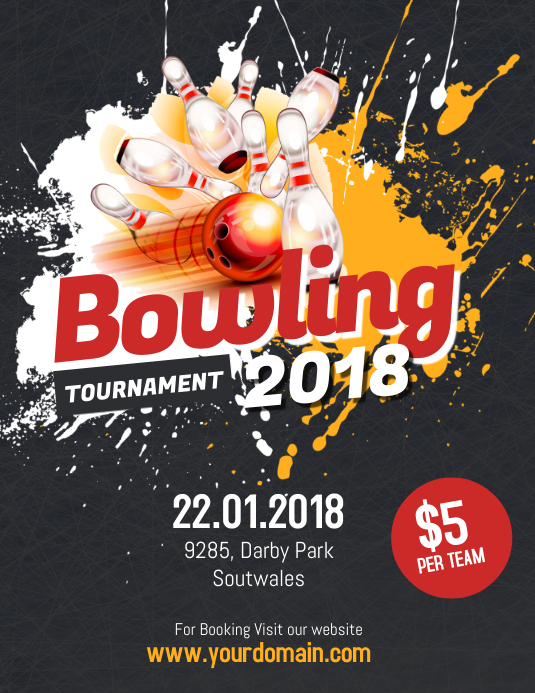 Bowling Tournament Flyer Poster 传单(美国信函) template