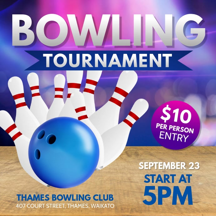 Bowling Tournament Instagram Video Vierkant (1:1) template