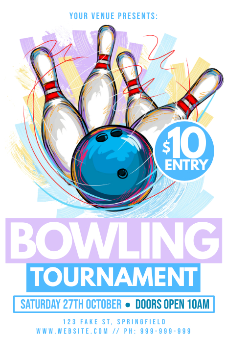 Bowling Tournament Poster Plakat template