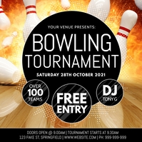 Bowling Tournament Poster โพสต์บน Instagram template