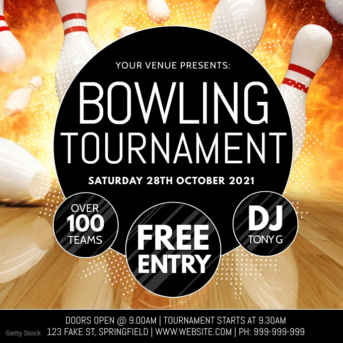 Bowling Tournament Poster Instagram 帖子 template