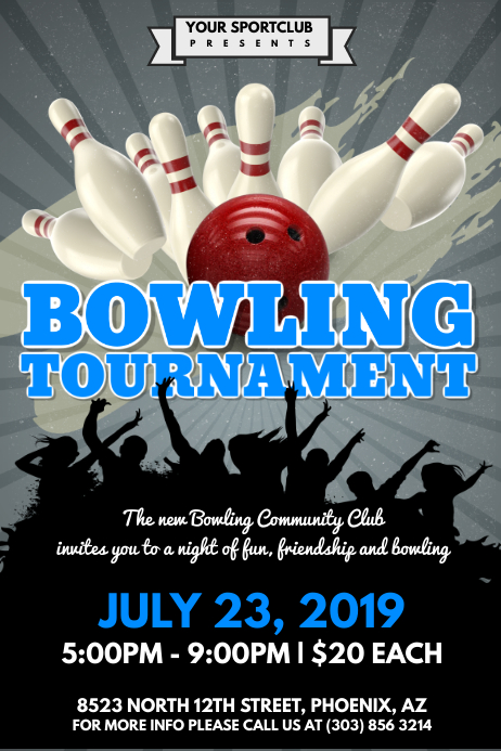 Bowling Tournament Poster Template Postermywall