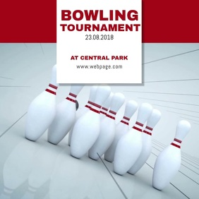 Bowling video Flyer Instagram Advertising template Square (1:1)