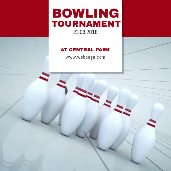 Bowling video Flyer Instagram Advertising template