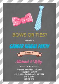 Bows or ties gender reveal card