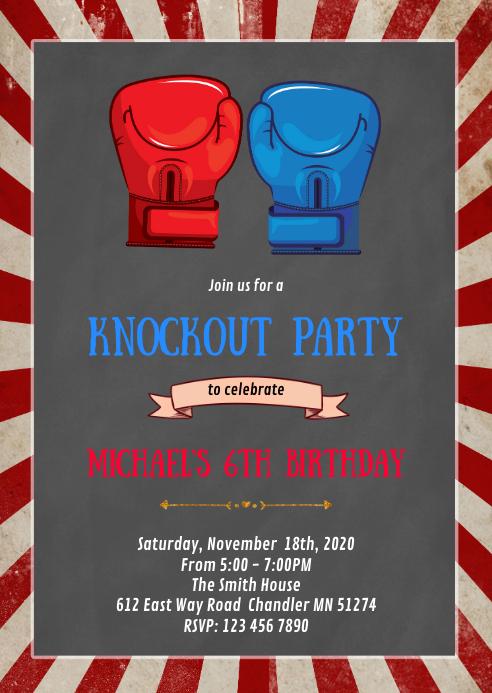 Boxing birthday party invitation