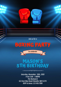 Boxing birthday theme invitation A6 template
