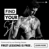 boxing classes advertising black and white co Instagram Post template